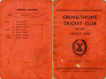 1952 cricket season